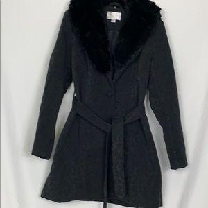 Xhilaration black long sleeved coat with belt Lg.